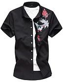 abordables Camisas de Hombre-Hombre Jacquard / Bordado Camisa Bloques Negro XXXXL