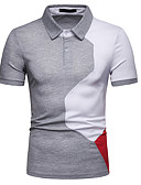 cheap Men's Polos-Men's Slim Polo - Color Block Shirt Collar White
