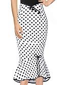 זול ביקיני ובגדי ים-מנוקד - חצאיות צינור / בתולת ים \חצוצרה סגנון רחוב בגדי ריקוד נשים לבן L XL XXL / רזה