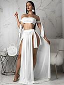 cheap Bikinis-Women's White Yellow Fuchsia Cover-Up Swimwear - Solid Colored M L XL White