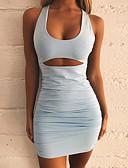 hesapli Kadın Elbiseleri-Kadın's Sokak Şıklığı Zarif Dar Bandaj Elbise - Solid, Arkasız U Yaka Mini