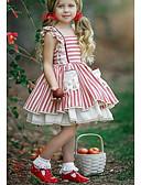 hesapli Çiçekçi Kız Elbiseleri-Çocuklar Genç Kız sevimli Stil / Sokak Şıklığı Çizgili Dantel / Arkasız Kolsuz Diz üstü Pamuklu Elbise YAKUT