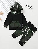 tanie Zestawy ubrań dla Chłopięce niemowląt-Dziecko Dla chłopców Casual / Podstawowy Nadruk Długi rękaw Regularny Bawełna Komplet odzieży Zieleń wojskowa