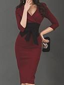 povoljno Poslovne haljine-Žene Rad Slim Bodycon Haljina Jedna barva V izrez Do koljena