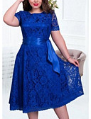 hesapli Kadın Elbiseleri-Kadın's A Şekilli Elbise Dantel Midi