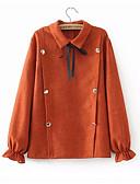 저렴한 여성 점프수트&롬퍼스-여성용 eu / us 사이즈 코튼 셔츠 - 솔리드 컬러 라운드 넥