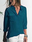economico Camicie da donna-Camicia - Taglie forti Per donna Tinta unita Colletto Grigio XXXL
