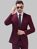 billige T-shirts og undertrøjer til herrer-Smoking Skræddersyet / Standard Hakrevers Enkeltbrystet med én knap Uld / Polyester Ensfarvet