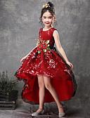 preiswerte Kleider für die Blumenmädchen-Prinzessin Asymmetrisch Blumenmädchenkleid - Satin / Tüll Ärmellos Schmuck mit Applikationen / Gürtel durch LAN TING Express