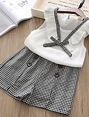 お買い得  女児 ウェアセット-子供 女の子 ストリートファッション チェック ノースリーブ レギュラー ポリエステル アンサンブル ホワイト
