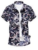 Недорогие Мужские футболки и майки-Муж. Большие размеры - Рубашка Классический воротник Геометрический принт Красный XXXXL