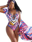 levne Bikini a plavky-Dámské Bílá Žlutá Duhová Přehozy Plavky - Geometrický L XL XXL Bílá