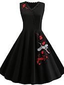 abordables Vestidos Estampados-Mujer Vintage Pequeño Negro Corte Swing Vestido - Estampado, Un Color Floral Sobre la rodilla