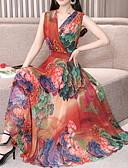abordables Vestidos Estampados-Mujer Sensual Delgado Gasa Corte Swing Vestido - Plisado, Floral Midi Escote en Pico / Festivos / Playa