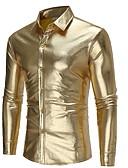 رخيصةأون سترات و بدلات الرجال-رجالي قميص لون سادة, نادي ذهبي M / كم طويل