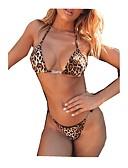 economico Bikinis-Per donna Essenziale Marrone Bikini Costumi da bagno - Leopardata M L XL Marrone
