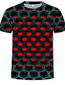 hesapli Erkek Kapşonluları ve Svetşörtleri-Erkek Yuvarlak Yaka Tişört Desen, Zıt Renkli / 3D Sokak Şıklığı / Abartılı Mor / Kısa Kollu