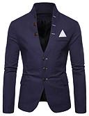 cheap Men's Blazers & Suits-Men's Blazer, Solid Colored Shirt Collar Polyester Red / Navy Blue / Khaki US34 / UK34 / EU42 / US36 / UK36 / EU44 / US40 / UK40 / EU48