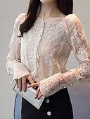 hesapli Kadın Kazakları-Kadın's Kare Yaka Gömlek Dantel, Solid Beyaz