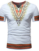 voordelige Heren T-shirts & tanktops-Heren Geborduurd / Print T-shirt Katoen Tribal V-hals Slank blauw L