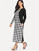 cheap Arabian Clothing-Women's Swing Dress - Color Block Patchwork Black L XL XXL
