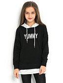 povoljno Majice s kapuljačama i trenirke za djevojčice-Djeca Djevojčice Ulični šik Print Dugih rukava Trenirka s kapuljačom Crn