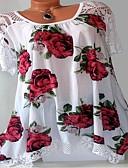 cheap Women's T-shirts-Women's Plus Size Cotton Loose T-shirt - Graphic Print White XXXL
