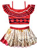 זול ילדים צעיפים-בגדי ים שרוול קצר דפוס דפוס וינטאג' / בוהו בנות ילדים / פעוטות