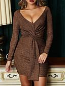 זול שמלות NYE-מעל הברך שרוכים לכל האורך, אחיד - שמלה ישרה וינטאג' סגנון רחוב בגדי ריקוד נשים