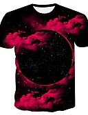 billige T-shirts og undertrøjer til herrer-Rund hals Herre - 3D EU / US størrelse T-shirt Sort XXL