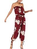 ieftine Salopete Damă-Pentru femei Alb Negru Roșu-aprins Salopete, Floral M L XL