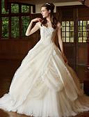 ราคาถูก ชุดแต่งงาน-บอลกาวน์ คอสวีทฮาร์ท ชายกระโปรงคอร์ท ลูกไม้ / Tulle ชุดแต่งงานที่ทำขึ้นเพื่อวัด กับ เข็มกลัด โดย LAN TING BRIDE®