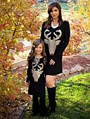 povoljno Obiteljski komplet odjeće-Mama i mene Aktivan Osnovni Geometrijski oblici Životinja Print Dugih rukava Regularna Do koljena Normalne dužine Pamuk Haljina Crn