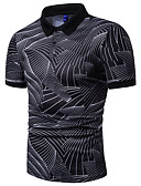 cheap Men's Shirts-Men's Polo - Striped / Geometric Print White XL