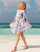 cheap Print Dresses-Women's Elegant A Line Sundress - Floral Print White XL XXL XXXL