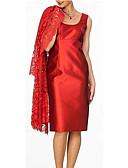 זול שמלות מודפסות-צווארון V עד הברך תחרה, אחיד - שמלה שני חלקים תחרה לאמא בגדי ריקוד נשים