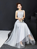 cheap Bridesmaid Dresses-A-Line Bateau Neck Floor Length Tulle Bridesmaid Dress with Sequin by LAN TING Express