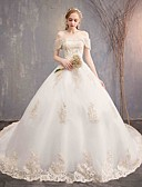 cheap Evening Dresses-Ball Gown Off Shoulder Chapel Train Tulle / Lace Over Satin Made-To-Measure Wedding Dresses with Appliques / Lace by LAN TING Express