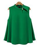 abordables Robe de Patinage-Chemisier Grandes Tailles Femme, Couleur Pleine Vert XXL