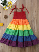 cheap Girls' Tops-Kids Girls' Cartoon Dress Rainbow