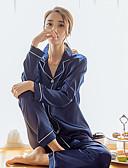 hesapli Pijamalar-Gömlek Yaka Takımlar Pijamalar Solid Kadın's