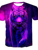 billige T-shirt-Rund hals Herre - Farveblok / 3D / Dyr Trykt mønster T-shirt Rosa