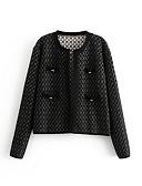 halpa Jackets-Naisten Päivittäin Normaali Jakku, Yhtenäinen Pyöreä kaula-aukko Pitkähihainen Polyesteri Musta S / M / L