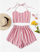 cheap Women's Two Piece Sets-Women's Boho / Sophisticated Tank Top - Striped, Backless / Bow Pant