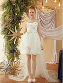 cheap Wedding Dresses-Disney Style A-Line Strapless Knee Length Tulle / Sequined Made-To-Measure Wedding Dresses with by LAN TING BRIDE®