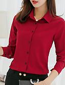 hesapli Gömlek-Kadın's Gömlek Solid Açık Yeşil