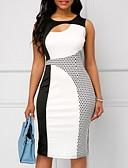 tanie Sukienki-Damskie Elegancja Bodycon Sukienka - Kolorowy blok Do kolan
