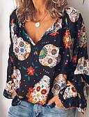 abordables Blusas para Mujer-Mujer Estampado / Holgado Camiseta, Escote en Pico Gráfico Marrón M / Primavera / Verano / Otoño / Invierno