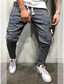お買い得  メンズパンツ&ショーツ-男性用 スポーティー / 活発的 / ベーシック ハーレム / スウェットパンツ パンツ - チェック / 格子柄 クラシック コットン ブルー ルビーレッド イエロー XL XXL XXXL / ドローストリング