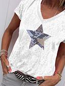 hesapli Tişört-Kadın's V Yaka Tişört Desen, Geometrik Yonca